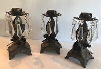 Loevsky & Loevsky Candle Stick Holders Brass & Crystal Prisms  Set of 3 RARE