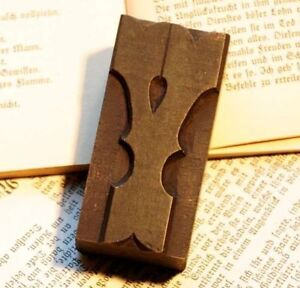 "Letter ""Y"" fancy rare decorative wood type character letterpress printing block"