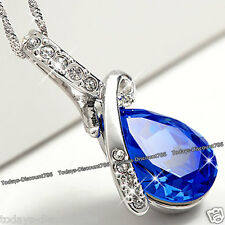 Royal Blue Gift For Her Crystal Teardrop Necklace Keepsake Xmas Love Wife Women