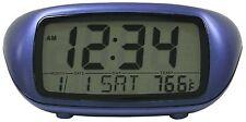 31038 Equity by La Crosse Digital Alarm Clock with Indoor Temperature - Blue