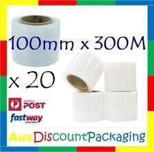 "(20x Roll) 100mm x 300M CLEAR Hand Held Stretch Bundling Film wrapping 20um 3"""