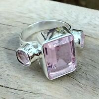Kunzite Gemstone Solid Handmade Ring Size-6.75 RI-032