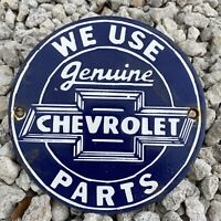 VINTAGE CHEVROLET PORCELAIN SIGN CHEVY TRUCK AUTO PARTS USA OIL LUBE GAS STATION