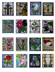 Dollhouse Miniature 1:12 Stained Glass Windows Clear Window Vinyl Stickers 1:12