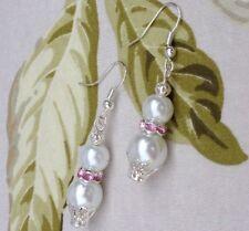 Bridal White Glass Pearl Bead Pink Rondelle Crystals Pierced Earrings Weddings