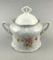 C118 Porcelain Confectionery Sugar Box Art Nouveau Floral Decoration Roses