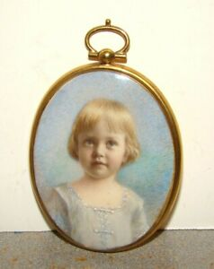 Antique Hand Painted Miniature Child's Portrait On Bone or Celluloid w/ Frame