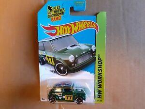 Hot Wheels Green Morris Mini #77 HW Workshop Long Card # 194 / 200  2014