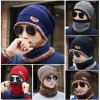 Fashion New Men Crochet Knit Beanie Wool Skull Hat Cap Scarf Set Winter Warm