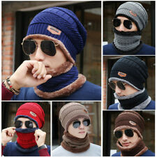 Men Women Winter Warm Cap Scarf Crochet Knit Baggy Beanie Wool Skull Ski Hat Set