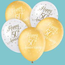 Dorado Feliz 50 Aniversario Bodas Globos Látex Llenar con Helio o Aire