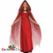 Womens Ladies Scarlet Temptress Ghost Cape Halloween Fancy Dress Party Accessory