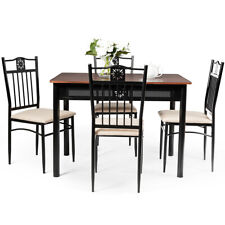 Costway 5Pcs Kitchen Room Dining Set w/4 Chairs Wood Metal Table Home Restaurant