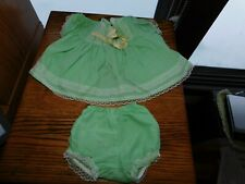 Green Poplin Handmade Baby or Doll Dress w/ Matching Panties