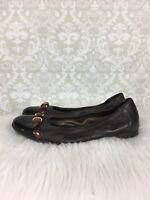 AGL Cap Toe Flats Sz 37.5 7.5 Dark Brown  Leather Tortoise Buckle Strap
