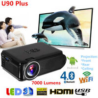 4K 3D Home Theater LED Android 6.0 WiFi Wireless Bluetooth Projector HDMI USB