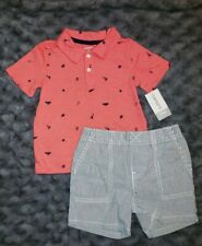 NWT Carters Baby Boy Clothes 24 Months 2 Piece Shirt Shorts Outfit Set
