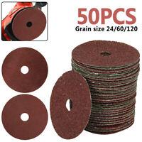 50pcs 24-120Grit 100mm Fibre Sanding Grinding Discs Wheels For Angle Grinder NEW
