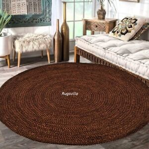 Natural Jute Rug Floors Handmade Round Area Carpet Modern vintage Reversible Rug