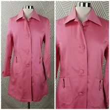 Studio Y size Medium Trench Coat Jacket Pink Button Up Mid length career spring