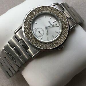 DKNY Quartz Silver Tone Women's Watch with Clear Crystals/Diamonds