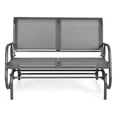 "48"" Patio 2-Seater Swing Glider Bench Chair Loveseat Rocker Lounge Outdoor Grey"