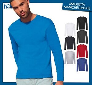 Maglietta Manica Lunga Uomo Cotone T shirt Fruit Of The Loom 5XL 4X 3XL XXL XL