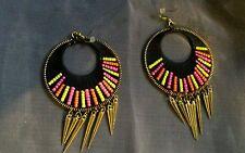 """Lovely Tribal Beaded Disc Earrings With Bullet Tassles Weaved Beaded 4"""" Drop"""