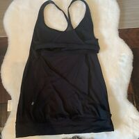 LULULEMON Minimalist Tank Solid Black Built in Bra size 6 Women's Top