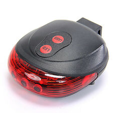 5 Rot LED 2 Laser Fahrrad Rücklicht Sicherheit Licht Rücklampe Beleuchtung