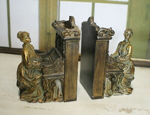 Classy Bookends Baroque Woman At Piano Braun Gold 2,1kg New 19cm 2-er Set