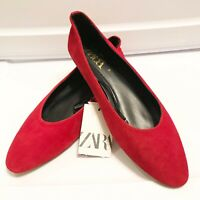 NWT ZARA RED LEATHER SUEDE FLATS SIZE 39