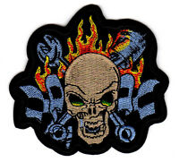SKULL RACING FLAGS PATCH hot rod hot rodder mechanic biker psychobilly greaser
