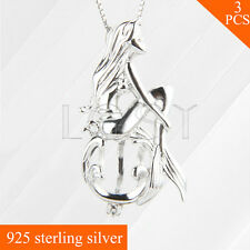 3pcs 925 sterling silver Beautiful Mermaid Shape cage pendant whitout chain