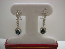 14K WHITE GOLD SAPPHIRE AND DIAMOND DANGLING EARRINGS OMEGA BACK