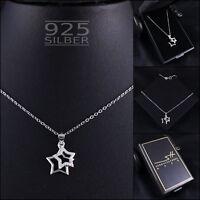 Sterne Kette Halskette 925 Sterling Silber Damen ❤ SWAROVSKI ELEMENTS ❤ im ETUI