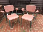 2 Matching Vintage Pink Mid-Century Chairs W / Arms - Plastic / Green Metal -