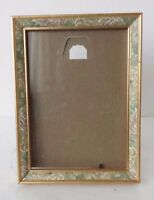 Picture Frame Green Floral Gold Tone 5 x 7