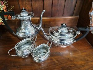 Very Good Four Piece EPNS Silver Plated Roberts & Dore Victorian Style Tea Set