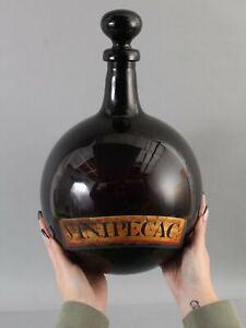Large Antique 18thC Hand Blown Amethyst Apothecary Medicine Bottle Vin-Ipecac