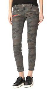 Etienne Marcel Women's Camo Skinny Jeans Green Camoflauge Stretch Sz 28