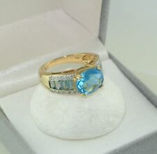 Damen Ring mit Aquamarin & Diamanten - Gelbgold 375er 9 Karat