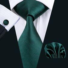 SN-830 100% Silk Dark Green Solid Mens Tie Hanky Cufflinks Set Wedding Business