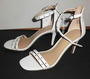 A NEW DAY Stiletto Heels Sz 9.5 White Faux Leather Open Toe Ankle Strap Shoes