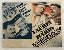 1936 LAUREL & HARDY Herald MGM Mini Poster OUR RELATIONS Advertising Flyer USA
