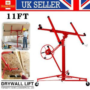 11FT Drywall Hoist Caster Lift Lifter Plaster Board Panel Heavy Duty Tool 150lbs