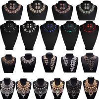 Women Gem Necklace Crystal Stone Chain Chunky Choker Statement Bib Jewel Pendant