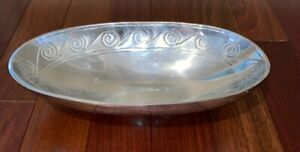 """DECORATIVE SLIVER COLORED OVAL BOWL WITH SCROLL - 13"""" - MADE IN INDIA - MACYS"""