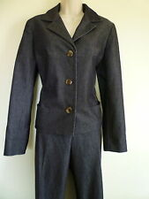 Evan Picone stretch womens Large 12 14 dark gray lined blazer pant suit pockets
