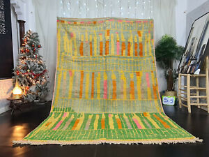 "Boujaad Handmade Moroccan Rug 6'8""x9'8"" Striped Green Yellow Berber Wool Carpet"